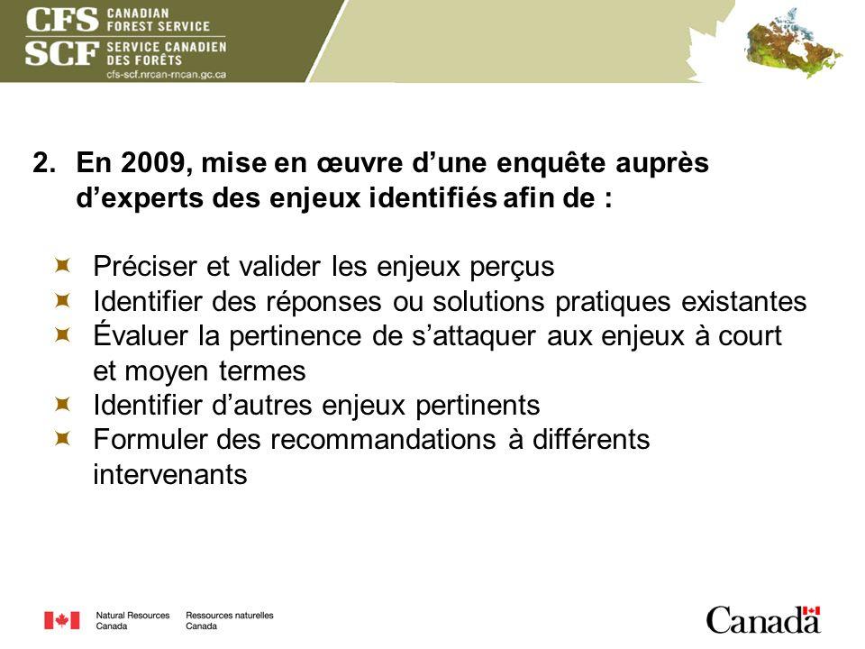 2. En 2009, mise en œuvre d'une enquête auprès d'experts des enjeux identifiés afin de :