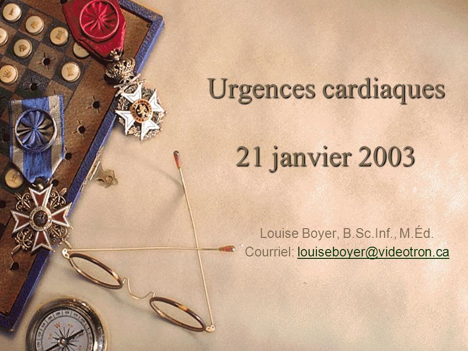 Urgences cardiaques 21 janvier 2003