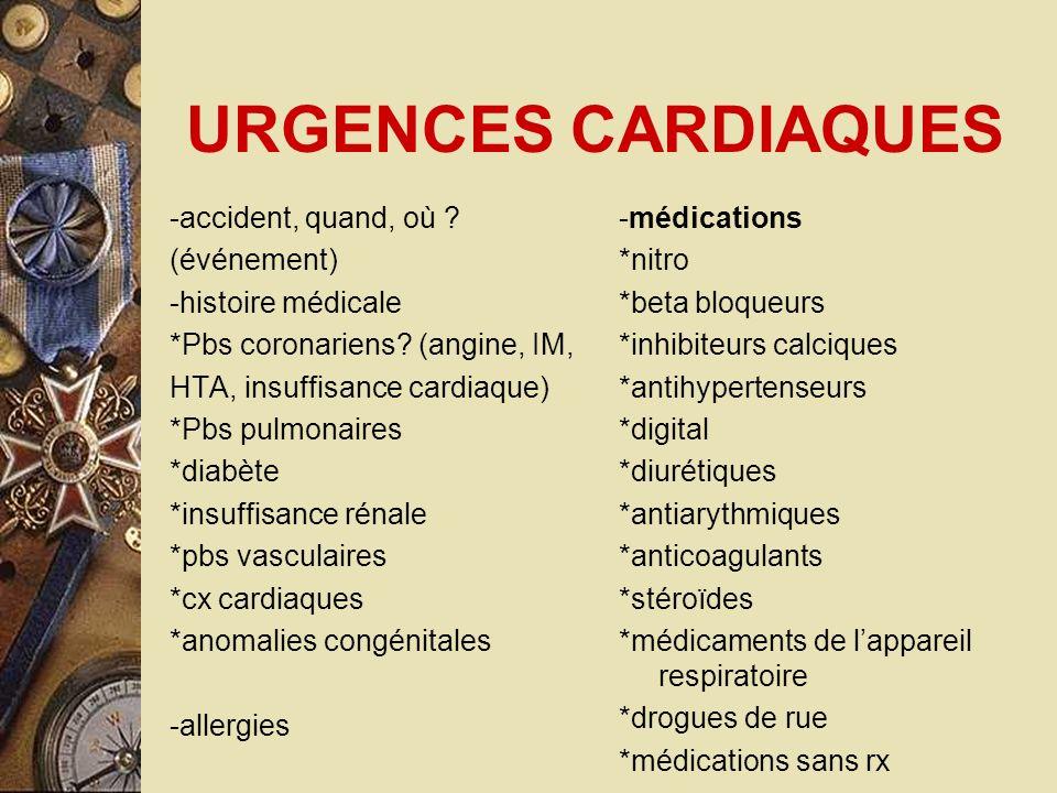 URGENCES CARDIAQUES -accident, quand, où (événement)