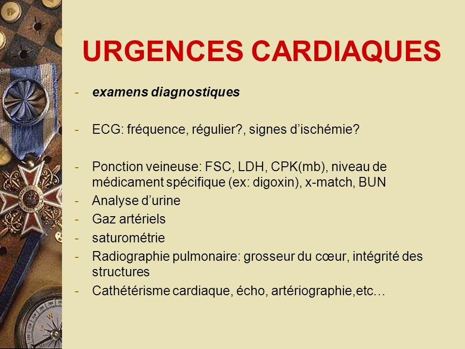 URGENCES CARDIAQUES examens diagnostiques