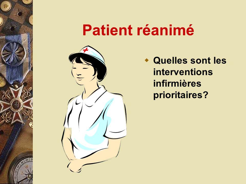 Patient réanimé Quelles sont les interventions infirmières prioritaires