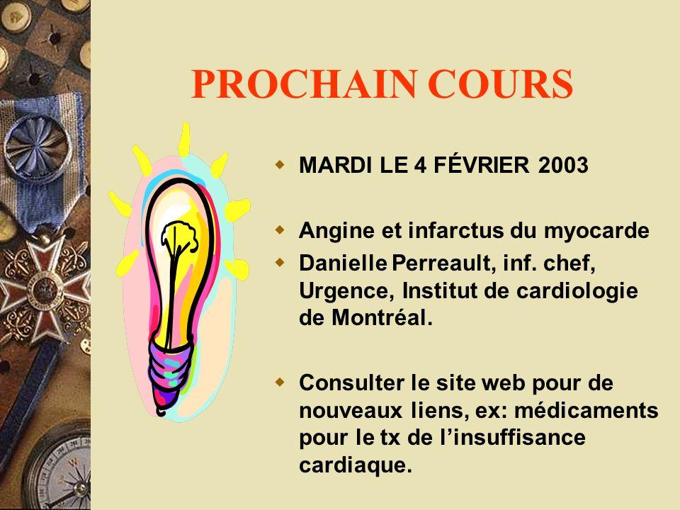 PROCHAIN COURS MARDI LE 4 FÉVRIER 2003 Angine et infarctus du myocarde