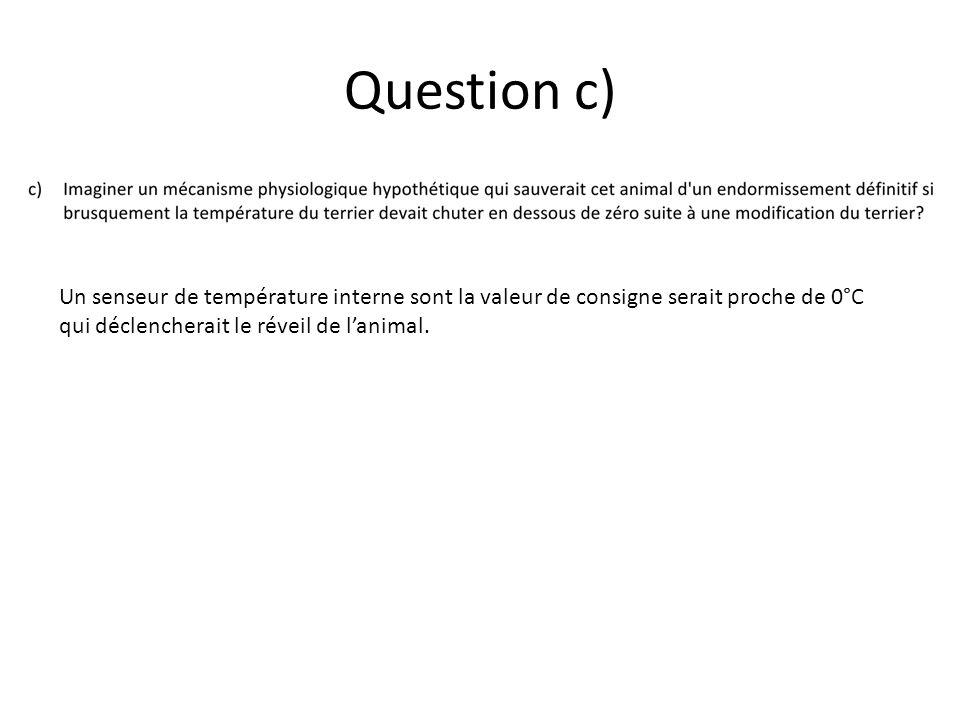Question c) Un senseur de température interne sont la valeur de consigne serait proche de 0°C qui déclencherait le réveil de l'animal.