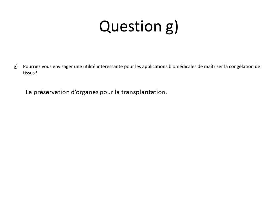 Question g) La préservation d'organes pour la transplantation.