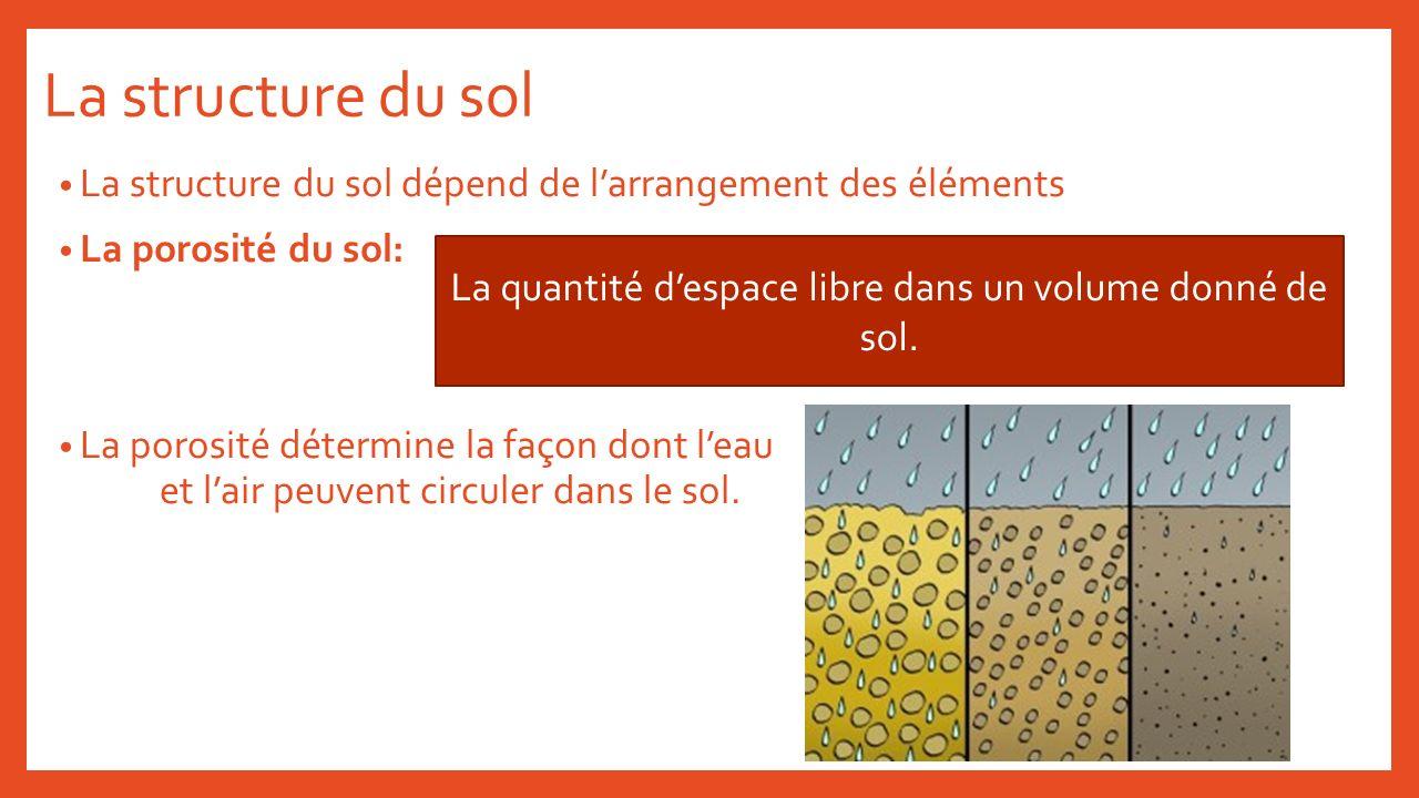 La quantité d'espace libre dans un volume donné de sol.