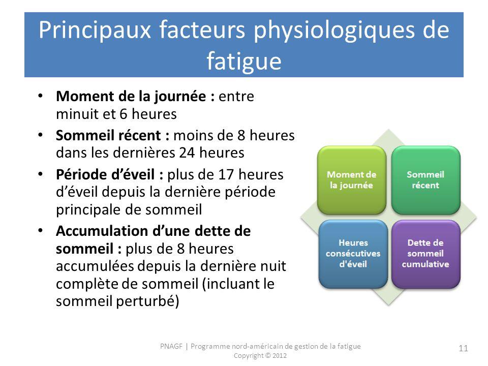 Principaux facteurs physiologiques de fatigue