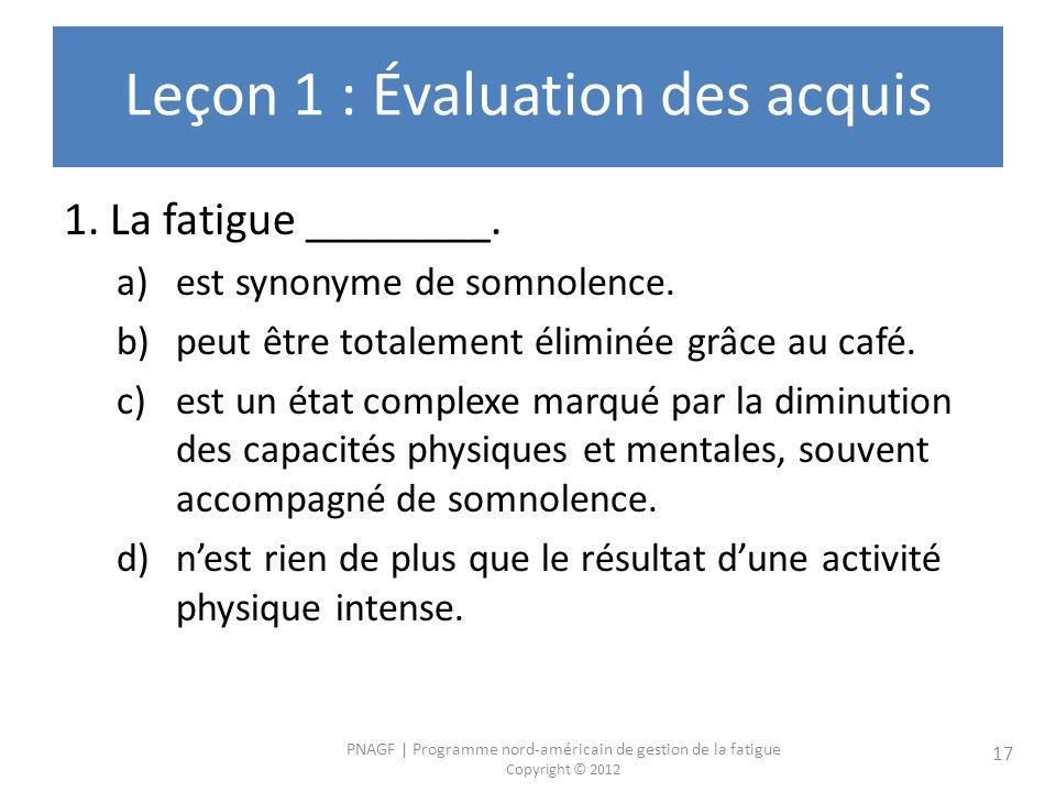 Leçon 1 : Évaluation des acquis