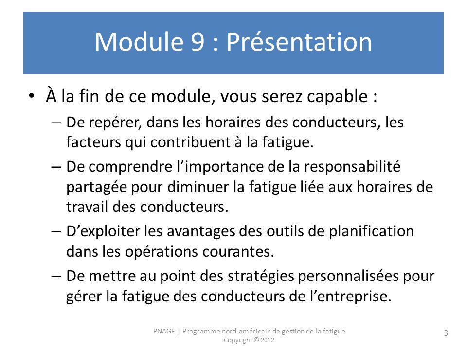 Module 9 : Présentation À la fin de ce module, vous serez capable :