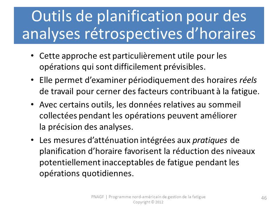 Outils de planification pour des analyses rétrospectives d'horaires