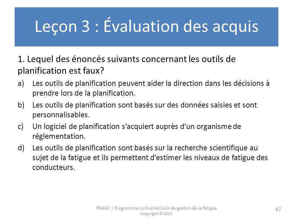 Leçon 3 : Évaluation des acquis