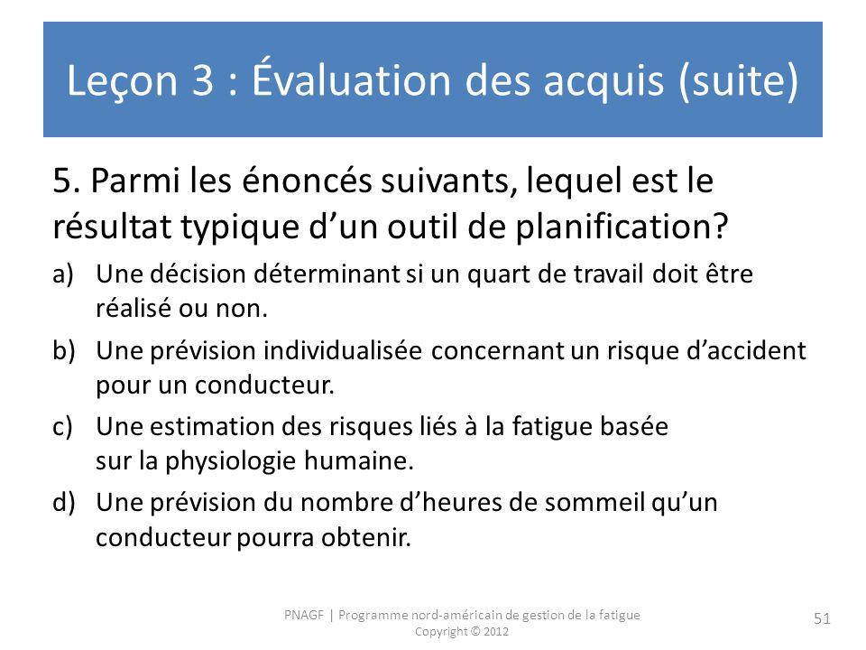 Leçon 3 : Évaluation des acquis (suite)
