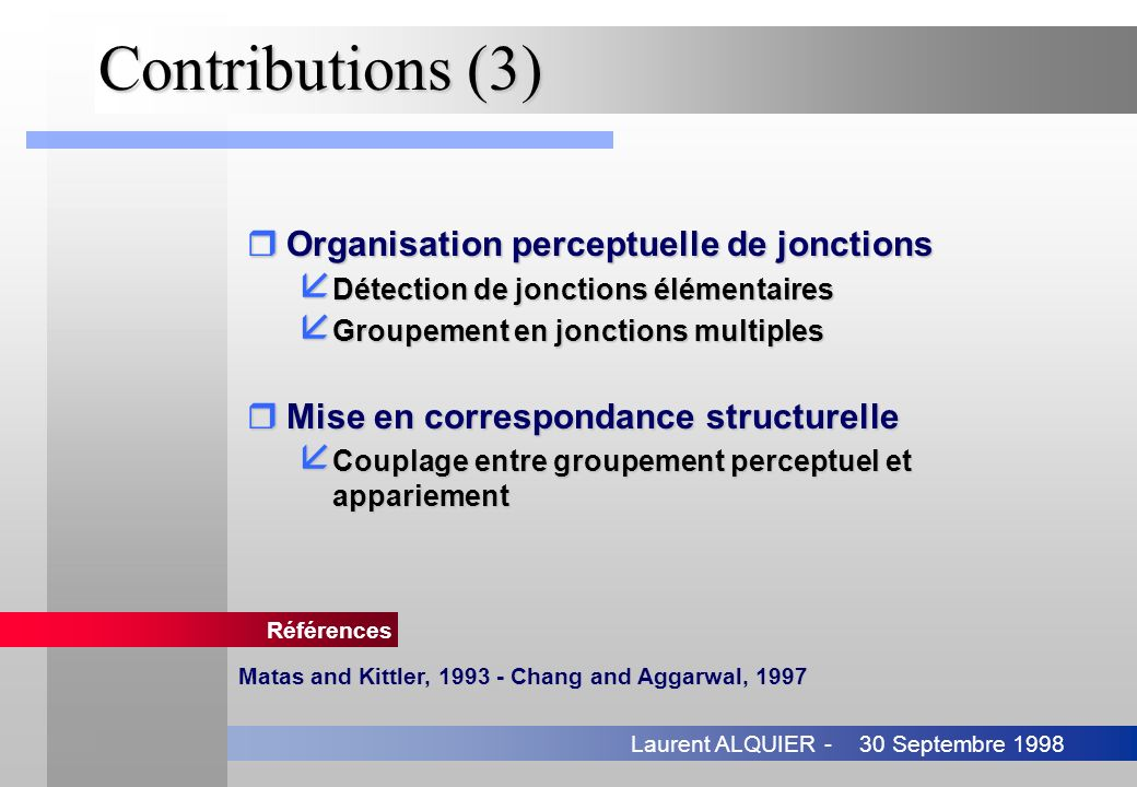 Contributions (3) Organisation perceptuelle de jonctions