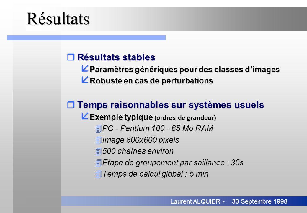 Résultats Résultats stables Temps raisonnables sur systèmes usuels