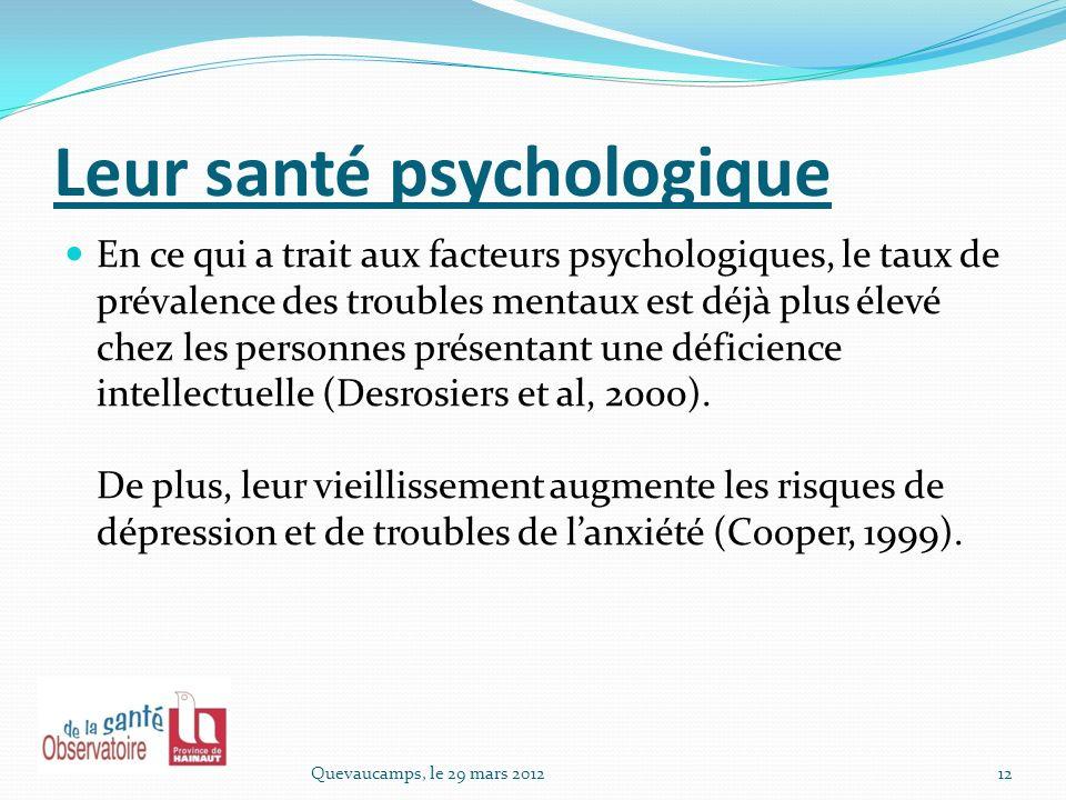 Leur santé psychologique
