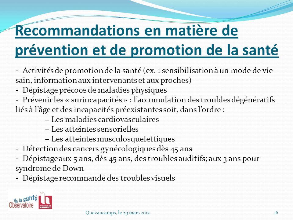 Recommandations en matière de prévention et de promotion de la santé