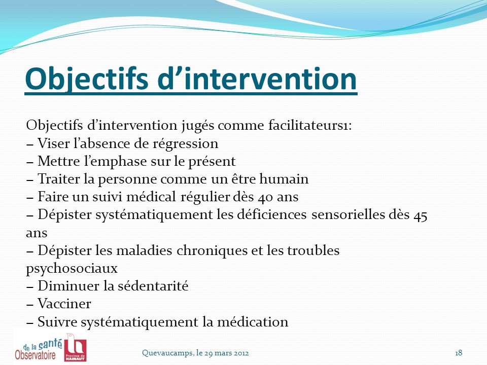 Objectifs d'intervention