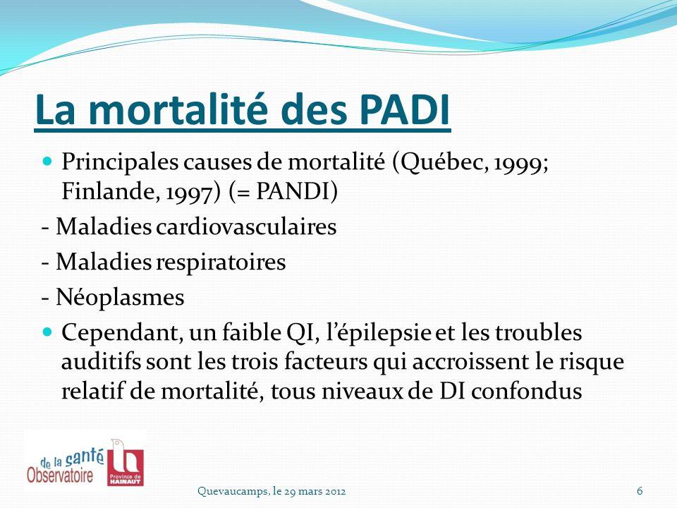 La mortalité des PADI Principales causes de mortalité (Québec, 1999; Finlande, 1997) (= PANDI) - Maladies cardiovasculaires.