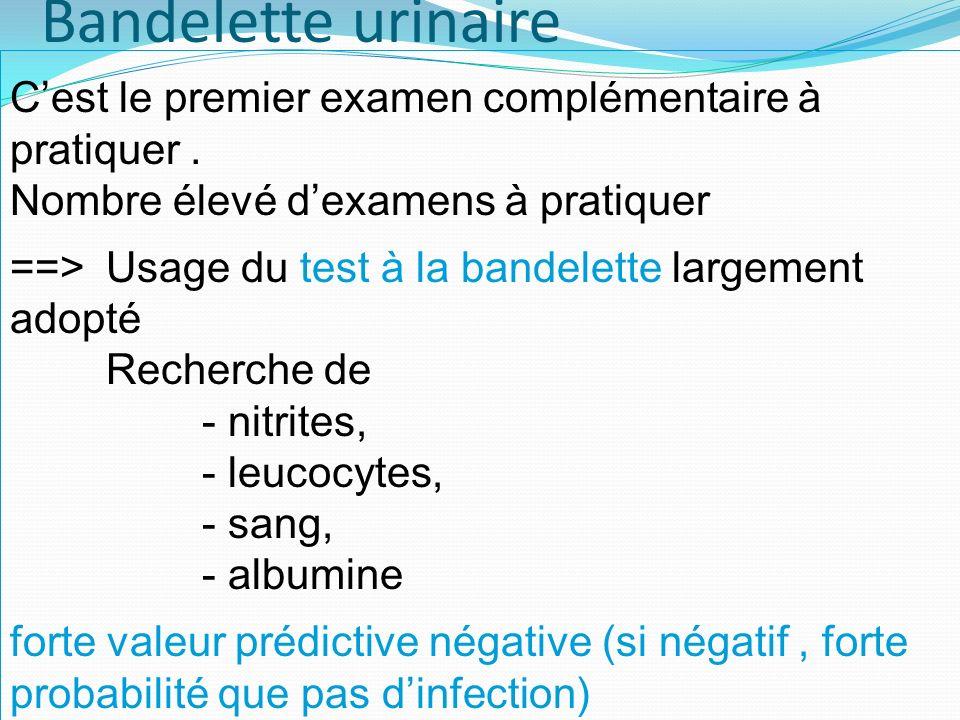 Bandelette urinaire C'est le premier examen complémentaire à pratiquer . Nombre élevé d'examens à pratiquer.