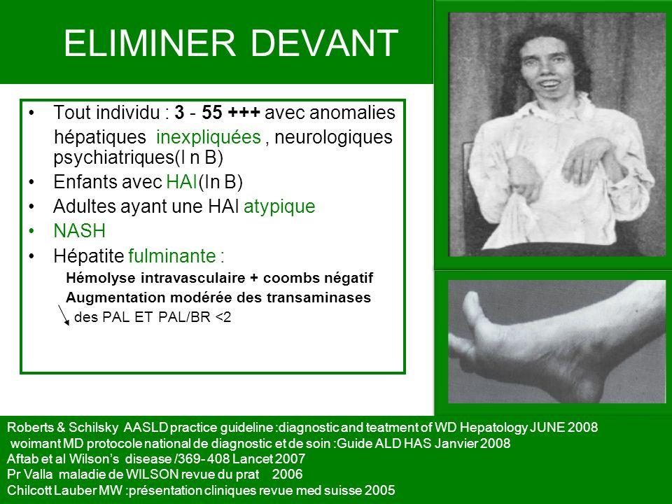 ELIMINER DEVANT Tout individu : 3 - 55 +++ avec anomalies