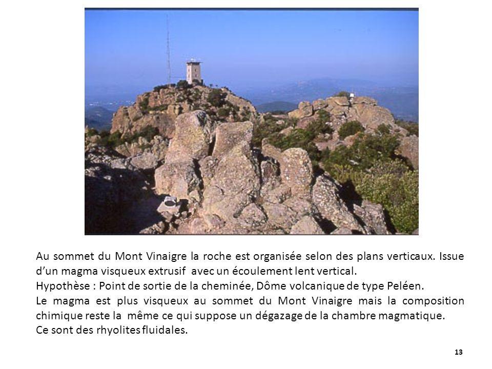 Au sommet du Mont Vinaigre la roche est organisée selon des plans verticaux. Issue d'un magma visqueux extrusif avec un écoulement lent vertical.