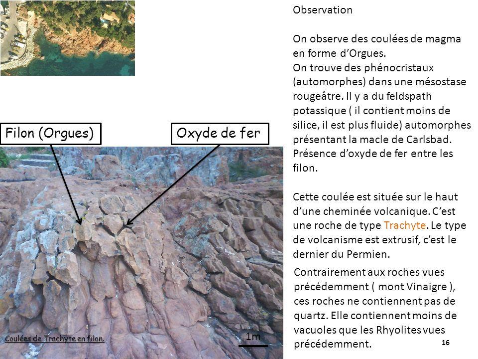 Filon (Orgues) Oxyde de fer Observation