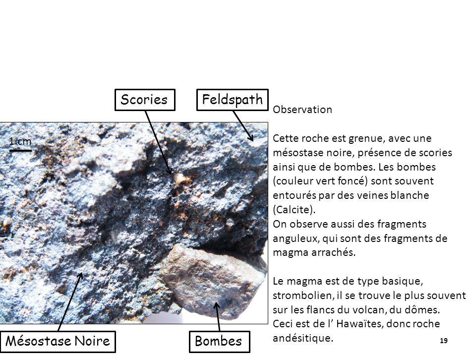 Scories Feldspath Mésostase Noire Bombes Observation