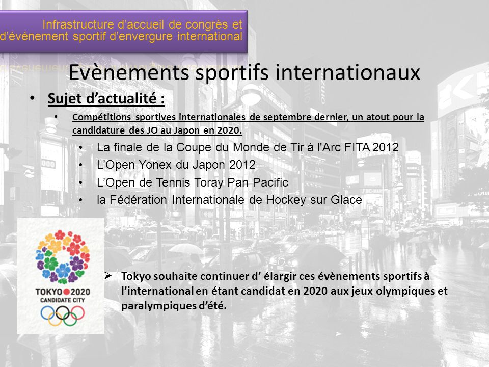 Evènements sportifs internationaux