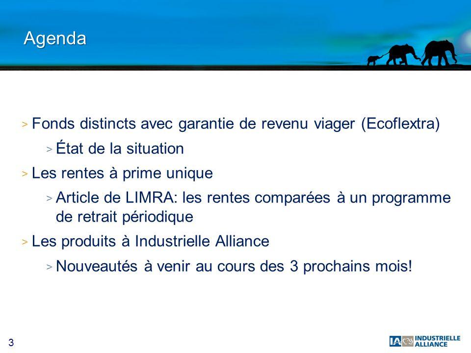 Agenda Fonds distincts avec garantie de revenu viager (Ecoflextra)