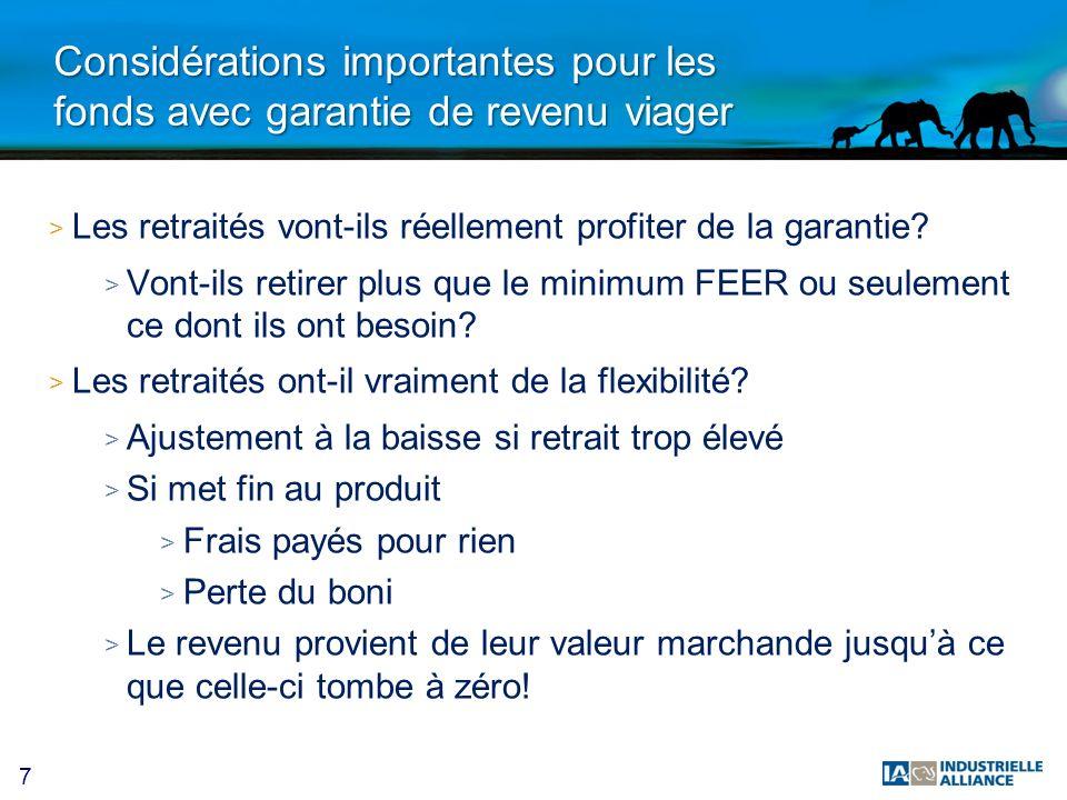Considérations importantes pour les fonds avec garantie de revenu viager