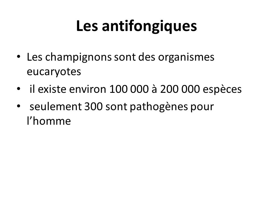 Les antifongiques Les champignons sont des organismes eucaryotes