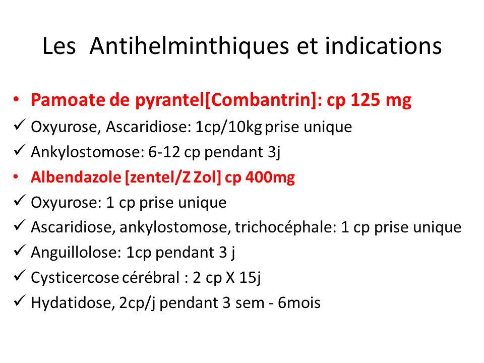 Les Antihelminthiques et indications