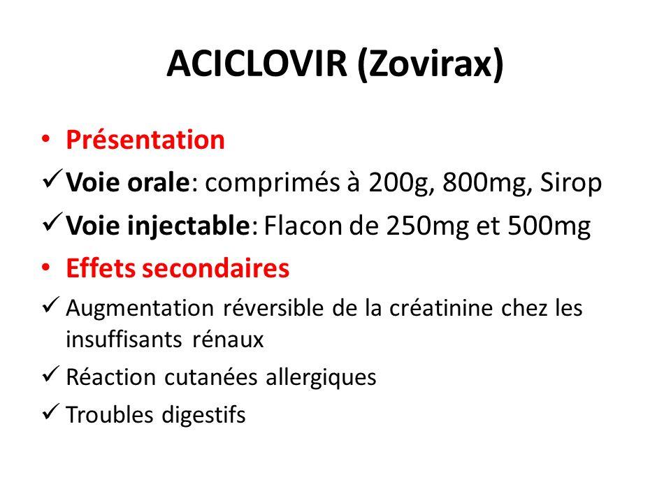 ACICLOVIR (Zovirax) Présentation