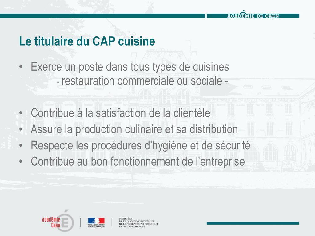 CAP CUISINE Arrêté Du Mars Ppt Télécharger - Sujet cap cuisine