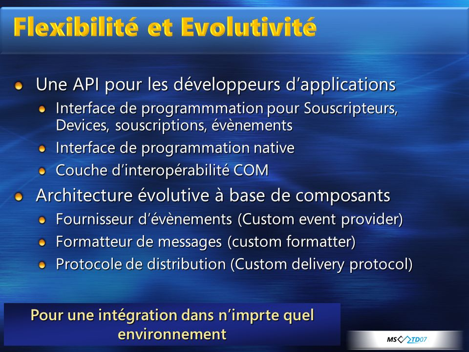 Flexibilité et Evolutivité