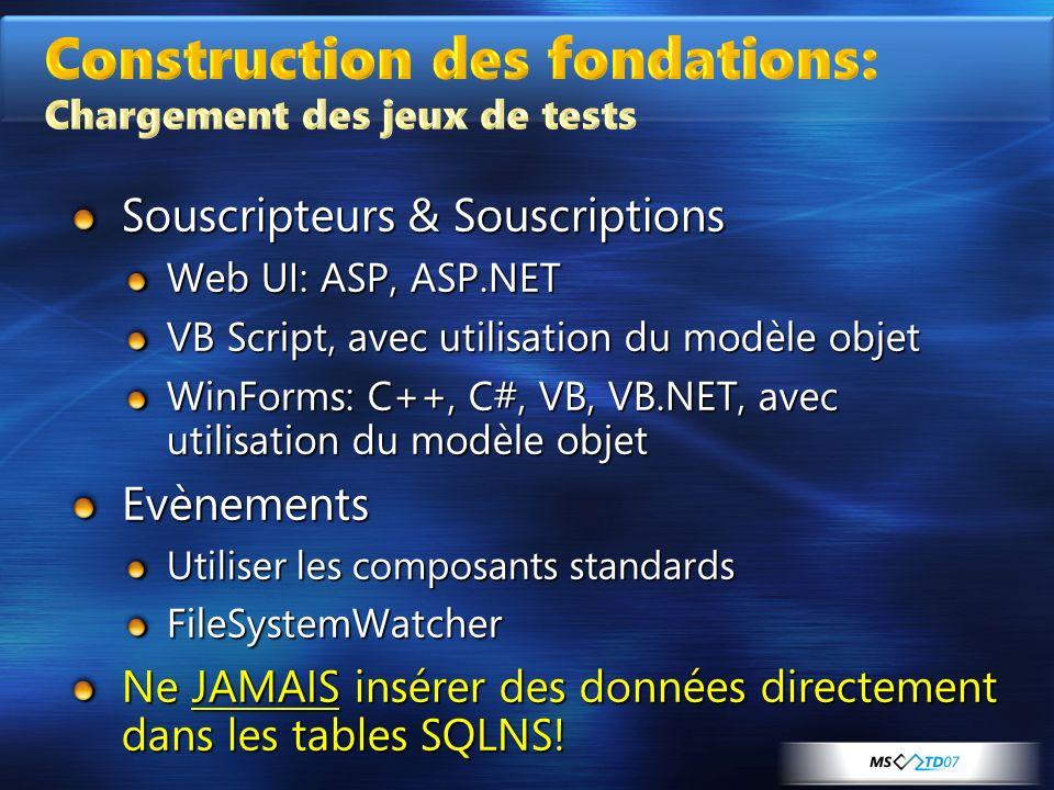 Construction des fondations: Chargement des jeux de tests