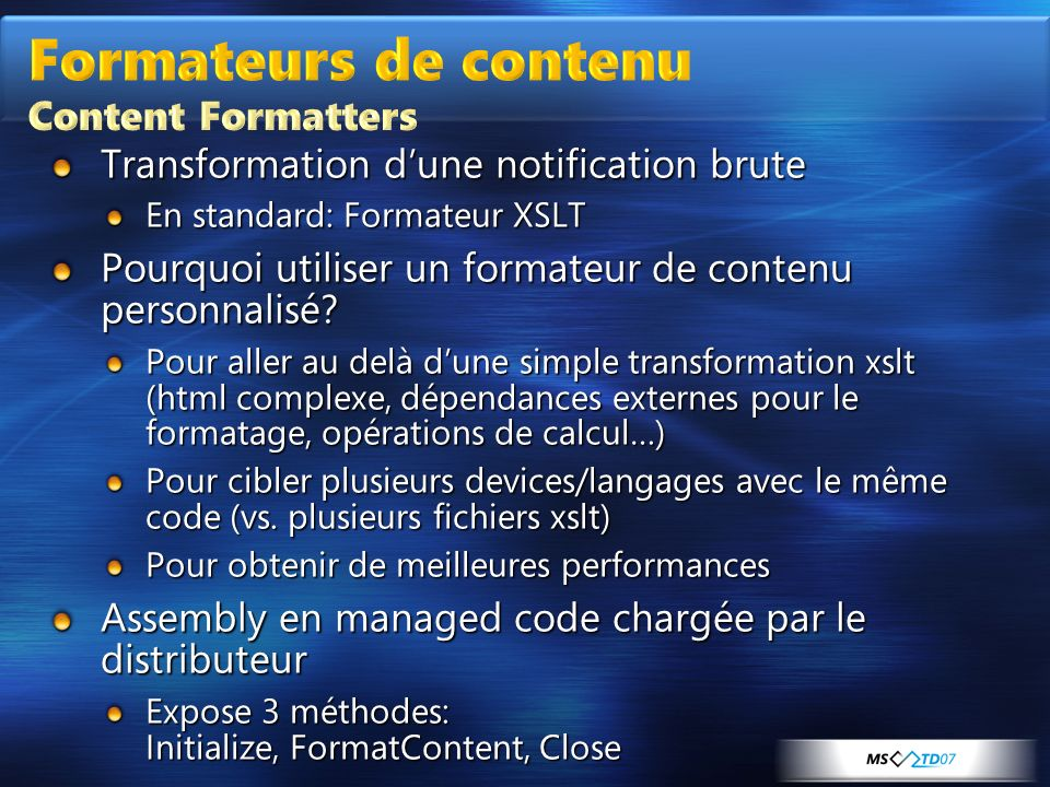 Formateurs de contenu Content Formatters