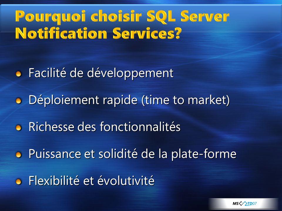 Pourquoi choisir SQL Server Notification Services