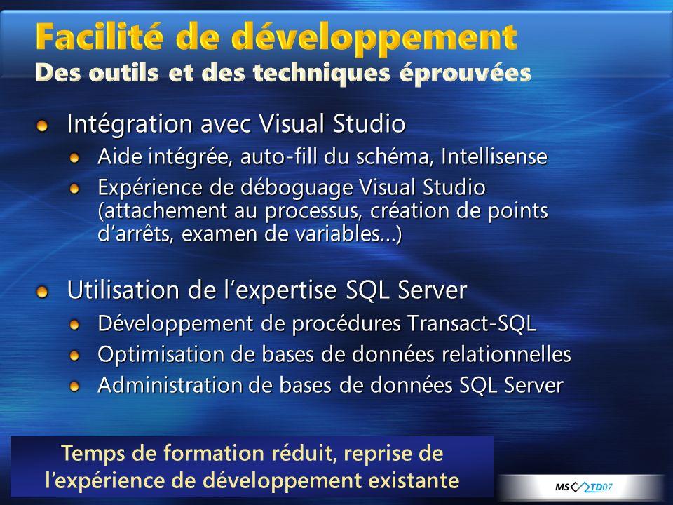 Facilité de développement Des outils et des techniques éprouvées