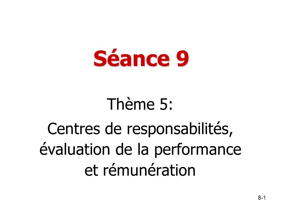 Séance 9 Thème 5: Centres de responsabilités, évaluation de la performance et rémunération