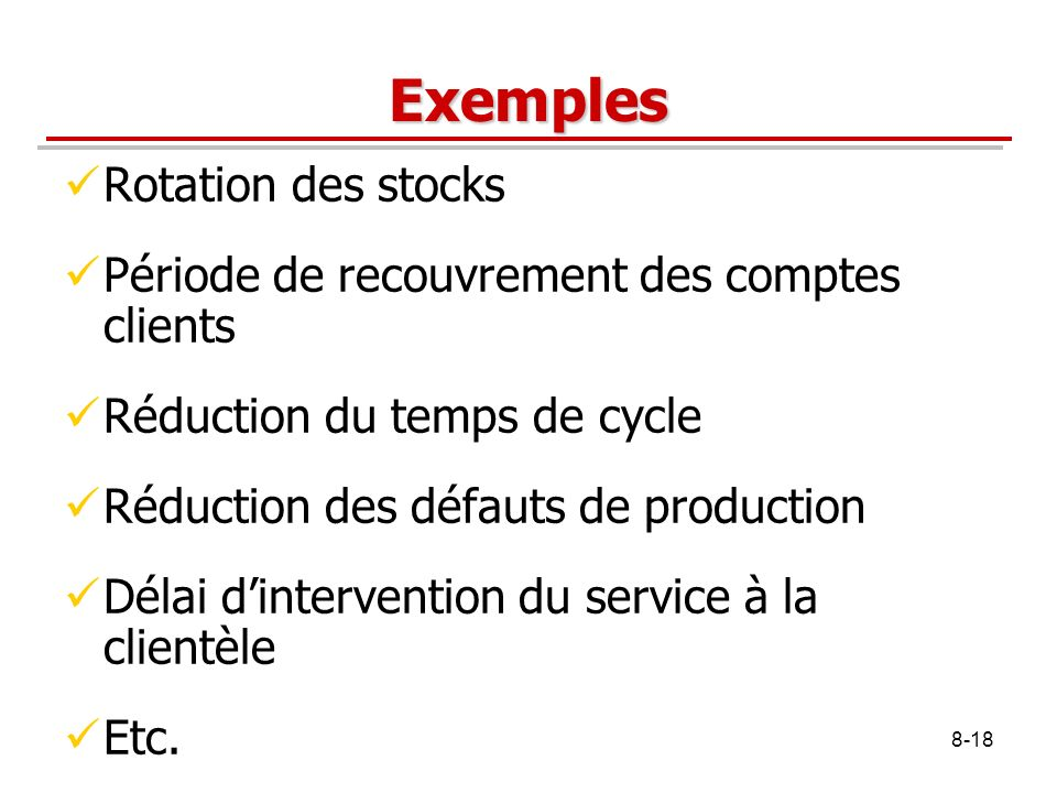 Exemples Rotation des stocks