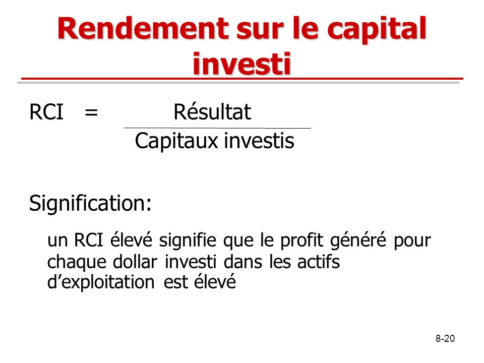 Rendement sur le capital investi