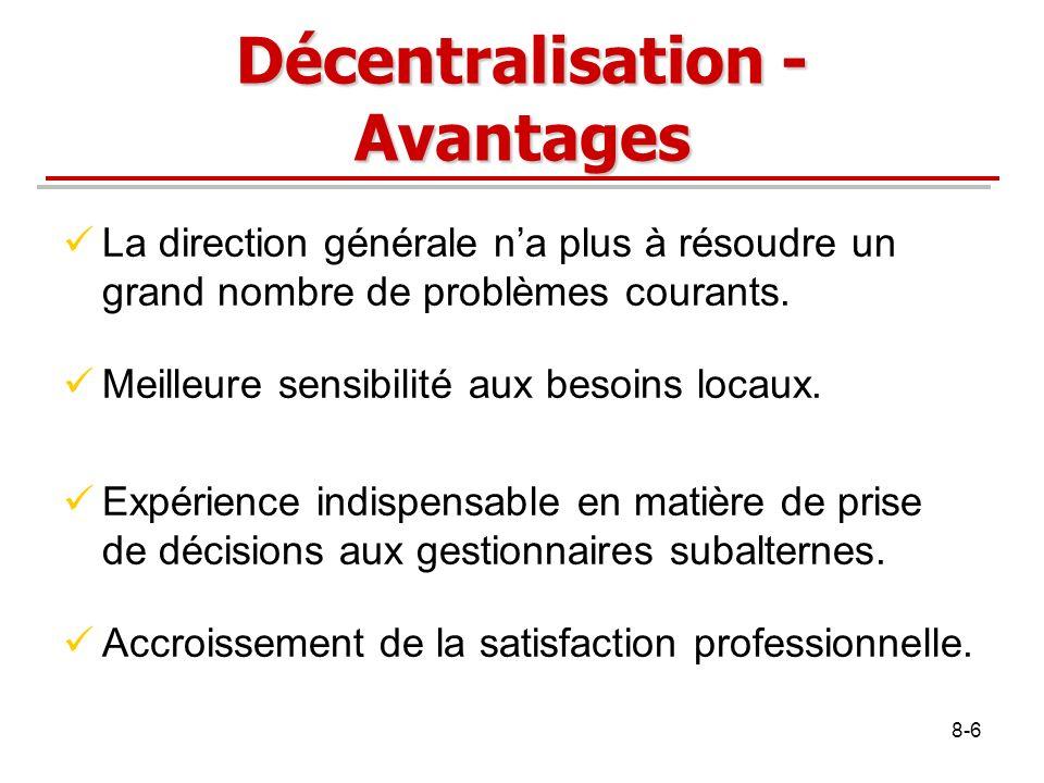 Décentralisation - Avantages