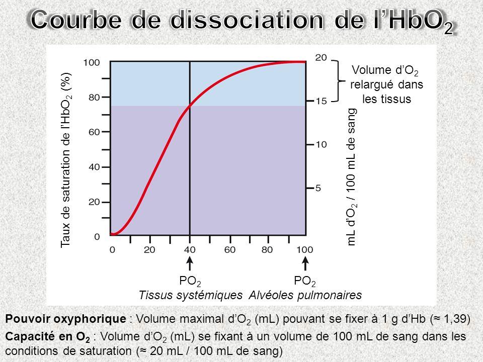 Courbe de dissociation de l'HbO2