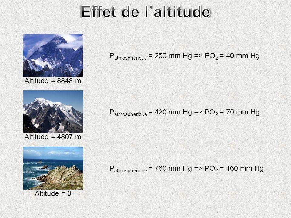 Effet de l'altitude Patmosphérique = 250 mm Hg => PO2 = 40 mm Hg