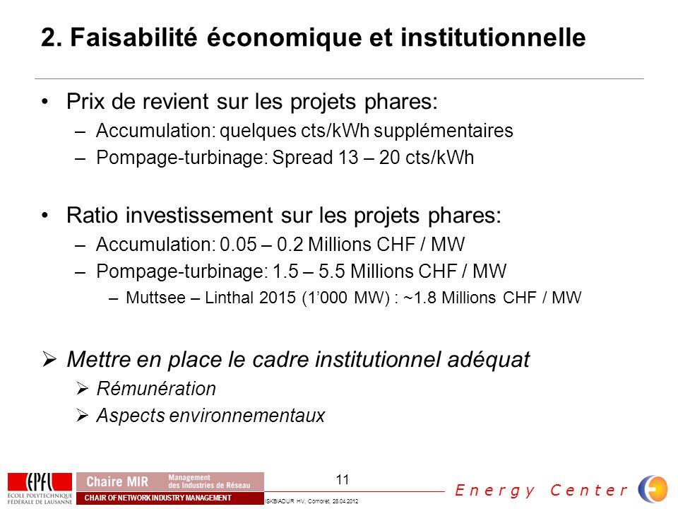 2. Faisabilité économique et institutionnelle