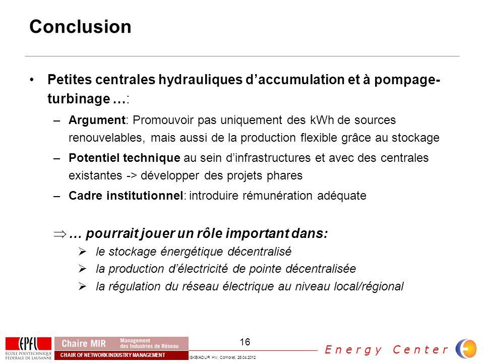 Conclusion Petites centrales hydrauliques d'accumulation et à pompage-turbinage …: