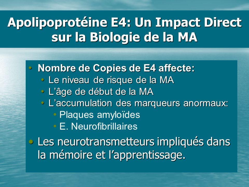 Apolipoprotéine E4: Un Impact Direct sur la Biologie de la MA