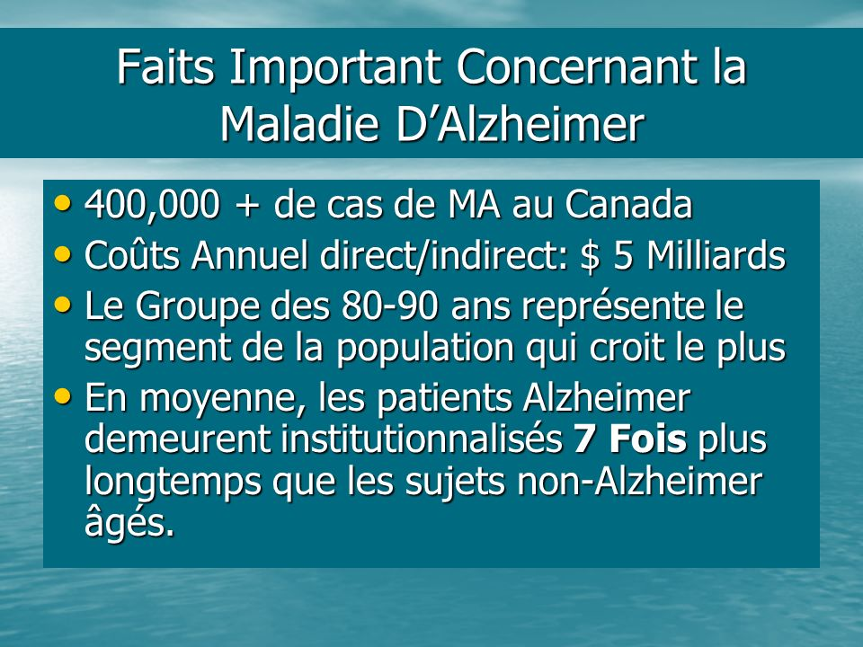 Faits Important Concernant la Maladie D'Alzheimer