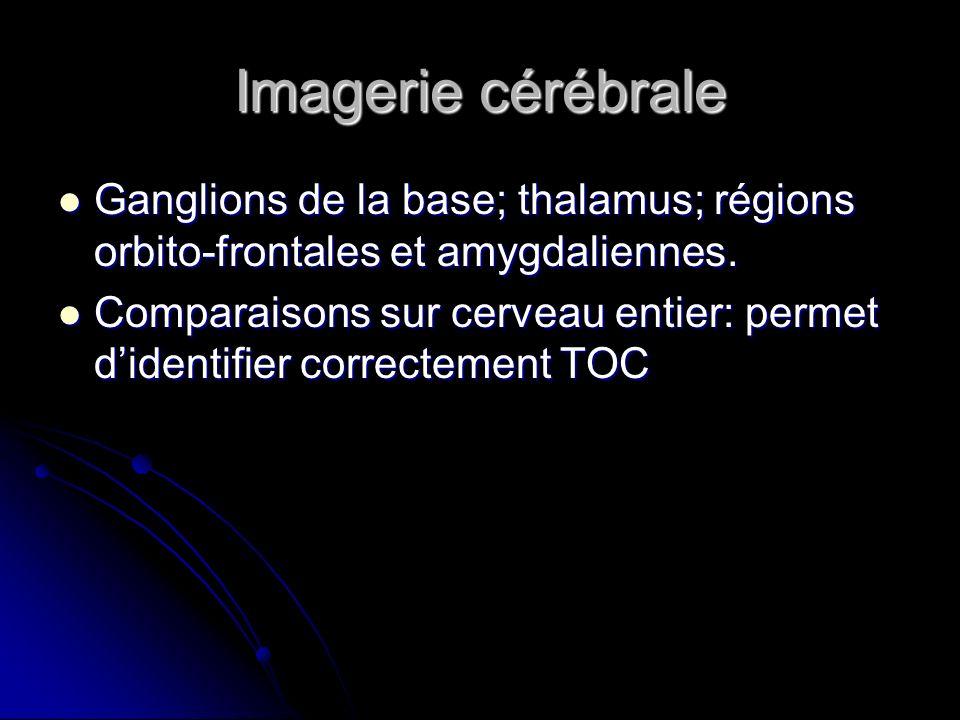 Imagerie cérébrale Ganglions de la base; thalamus; régions orbito-frontales et amygdaliennes.