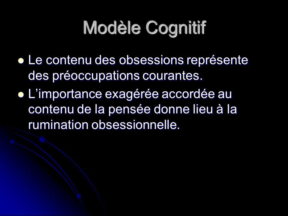 Modèle Cognitif Le contenu des obsessions représente des préoccupations courantes.